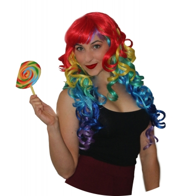Deluxe Rainbow Curly Wig title=