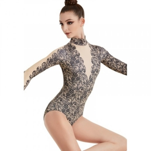 Lace Plunge Printed Leotard