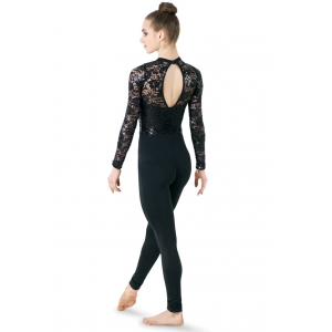 Sequin and Lace Sleeve Catsuit