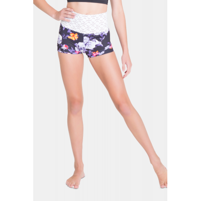 Midnight Bloom High Waisted Shorts title=