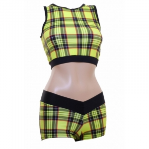 POLE DYNAMIX Yellow Tartan Crop Top & ..