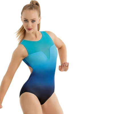Mesh and Ombre Printed Leotard title=