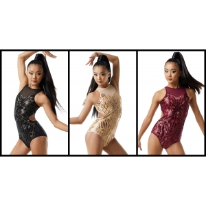 Open Back Sequin Mesh Leotard