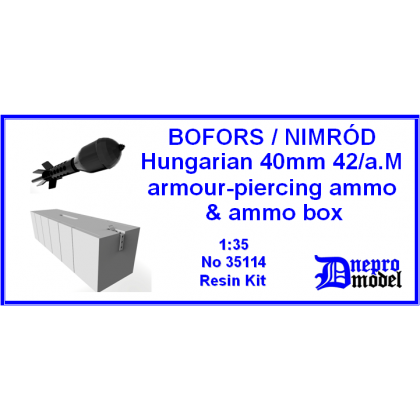 Bofors/Nimród Hungarian 40mm 42a.M armour-piercing ammo & ammo box 1/35