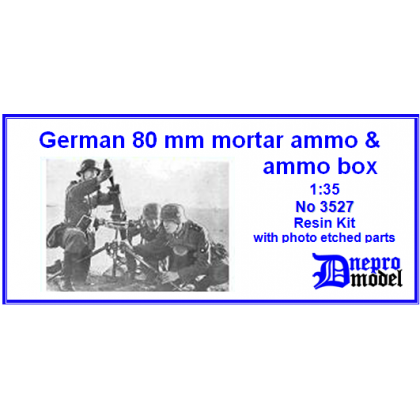 German 80mm mortar ammo & ammo box 1/35