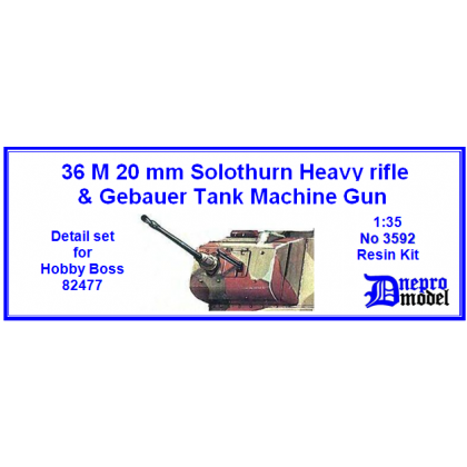 36 M 20 mm Solothurn Heavy rifle & Gebauer Tank machine gun Detail set for Hobby Boss 82477 1/35