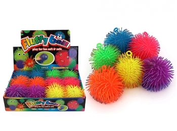 12CM TWO TONE FLASHING FLUFFY BALL