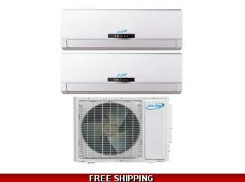 AirCon 22 Seer 9000 + 12000 btu Dual Zone Mini Split Heat Pump AC